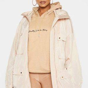 Plus Stone Oversized Shell Utility Jacket